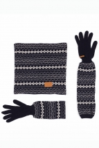 glove & scarf naja, d. navy w. beige