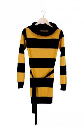 knit dress berry, d. navy w. mustard str.
