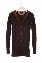 knitted long jacket, d. brown